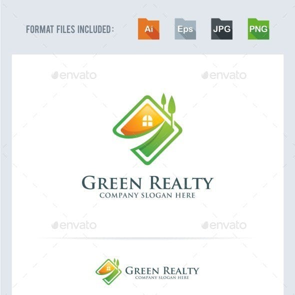 Green Realty - House - Real Estate Logo