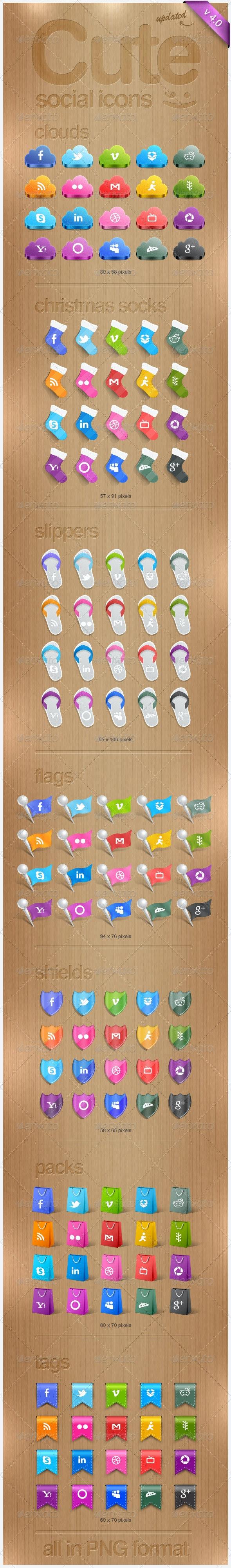 Cute Social Icons - Web Icons