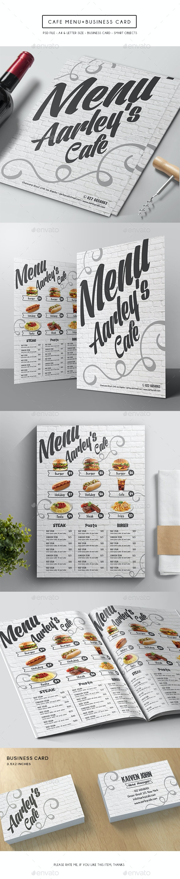 Cafe Menu + Business Card - Food Menus Print Templates