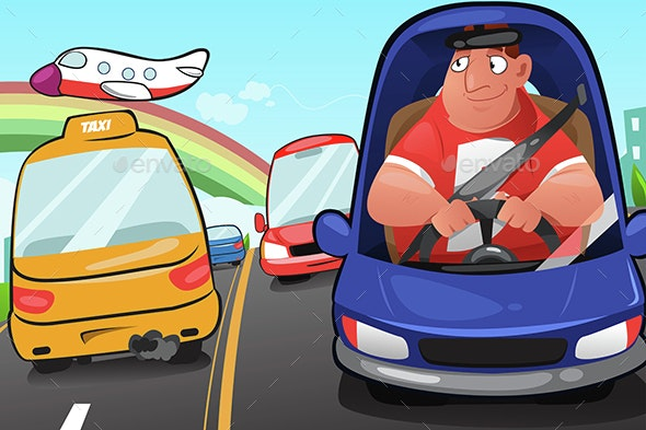 Man Driving a Car - People Characters