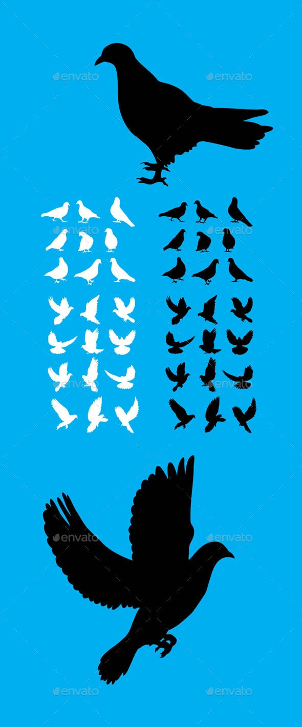 Dove Set Silhouette - Animals Characters