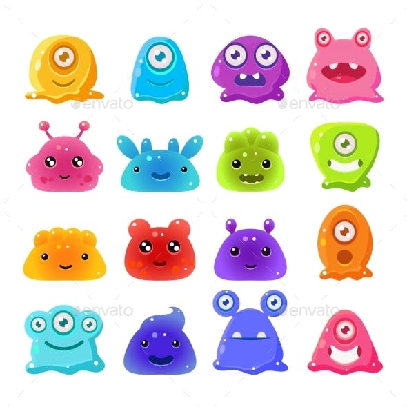 Cartoon Jelly Monsters Set