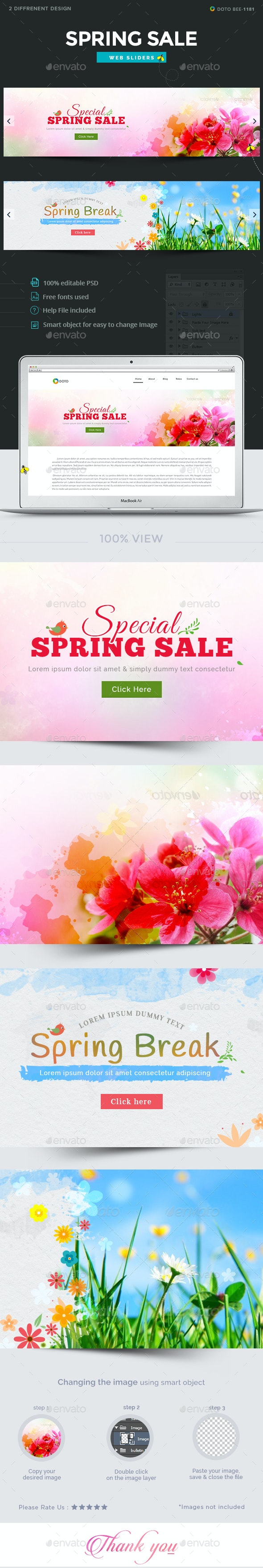 Spring Sale Sliders - 2 Designs - Sliders & Features Web Elements