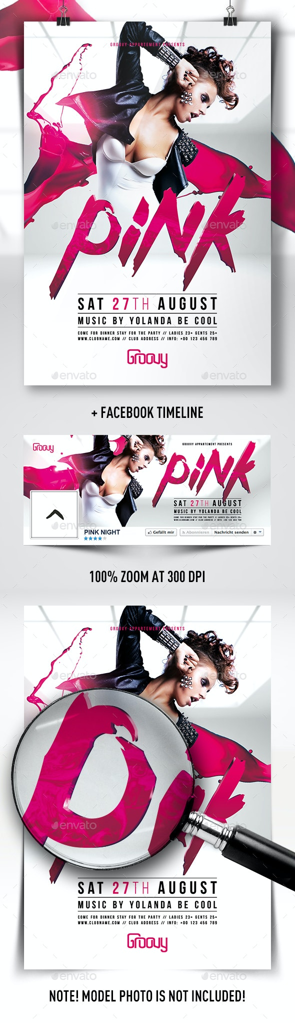 PINK Night Flyer - Clubs & Parties Events