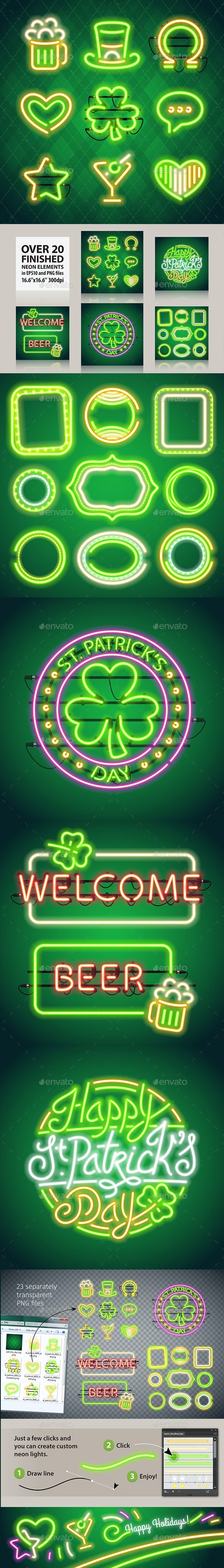 St Patricks Day Glowing Neon Signs Set - Decorative Symbols Decorative