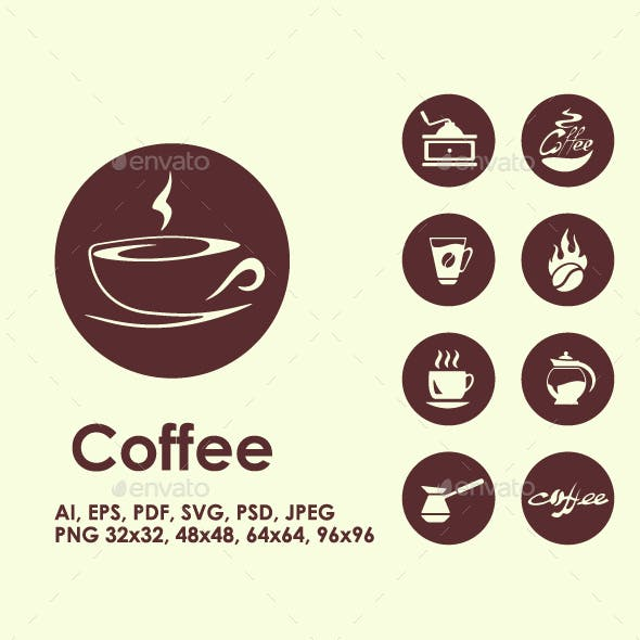 Coffee simple icons