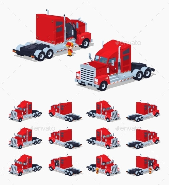 Red Heavy American Truck - Man-made Objects Objects