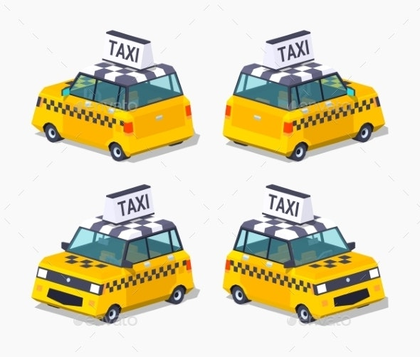Yellow Taxi Hatchback - Man-made Objects Objects