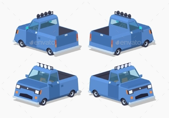 Blue Pickup Truck - Man-made Objects Objects