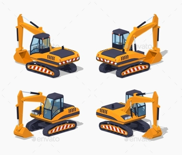 Yellow Excavator. Special Machinery - Man-made Objects Objects