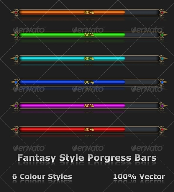 Fantasy Style Progrss Bars - Decorative Symbols Decorative