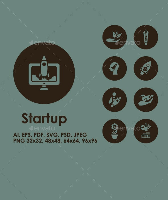 Startup simple icons - Technology Icons