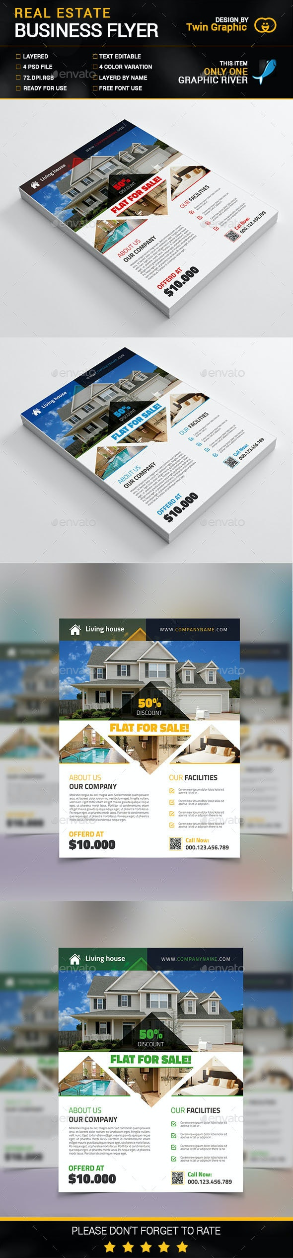 Real Estate business flyer design. - Flyers Print Templates