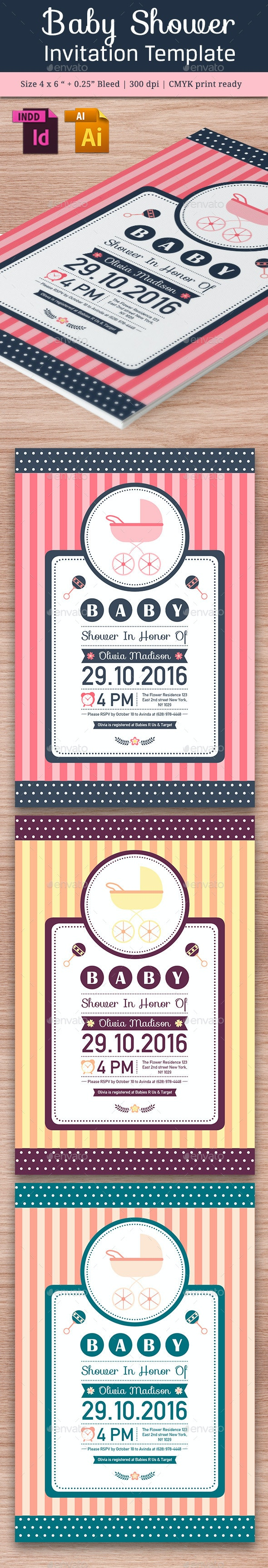 Baby Shower Template - Vol. 13 - Cards & Invites Print Templates