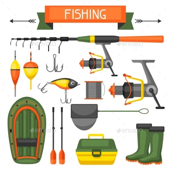 Set of Fishing Supplies - Sports/Activity Conceptual