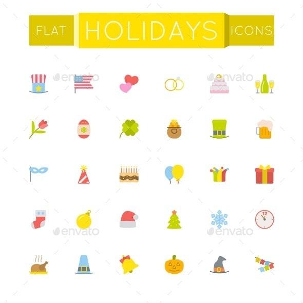 Flat Holidays Icons - Miscellaneous Seasons/Holidays