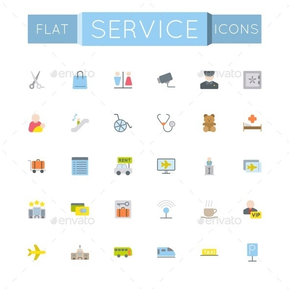 Flat Service Icons - Services Commercial / Shopping