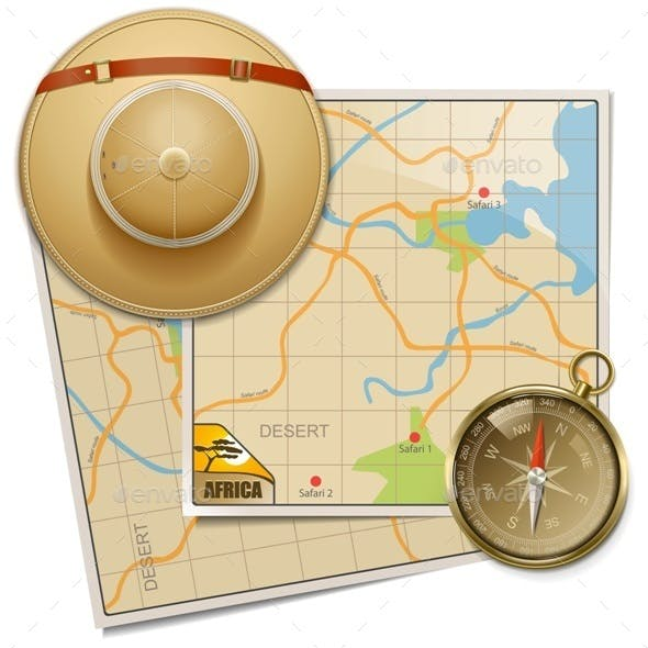 Safari Map with Hat