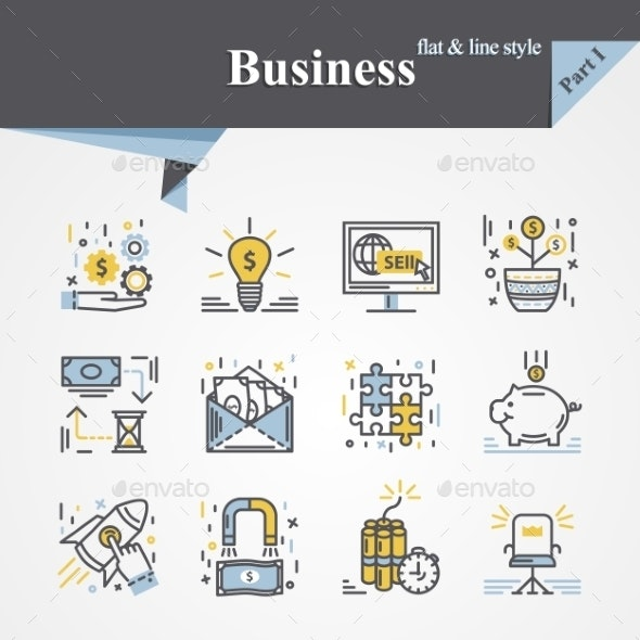 Business Flat and Line Icons - Concepts Business