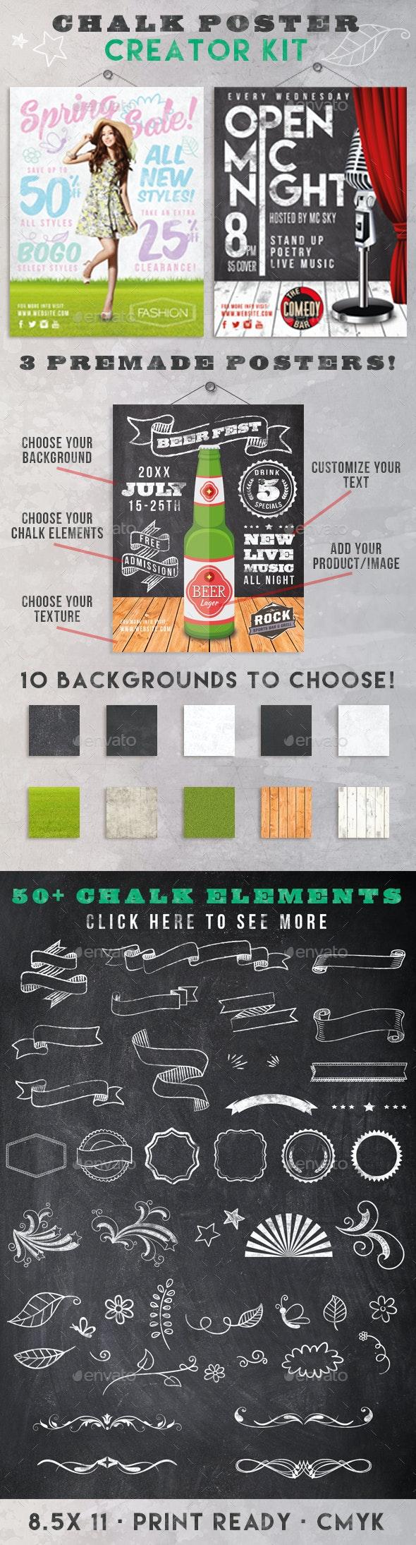 Chalk Poster Ad Creator Kit - Flyers Print Templates
