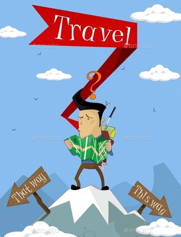 Backpacker Looking at Map - Travel Conceptual