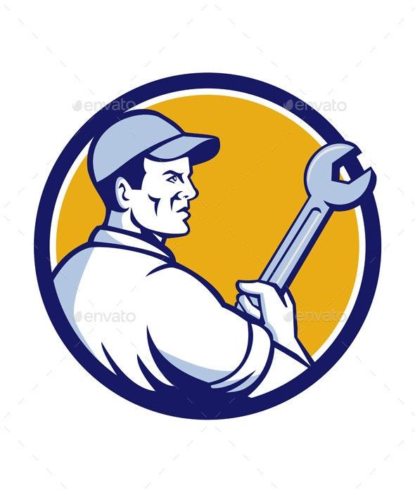 Mechanic Holding Monkey Wrench Circle Retro - People Characters