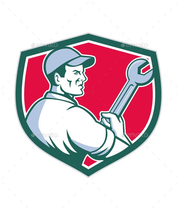 Mechanic Holding Monkey Wrench Shield - People Characters