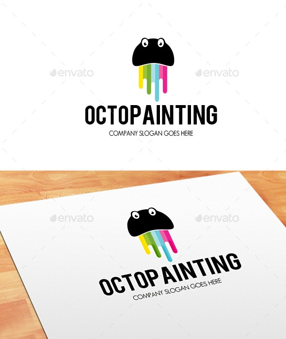 Octo Painting Logo - Animals Logo Templates