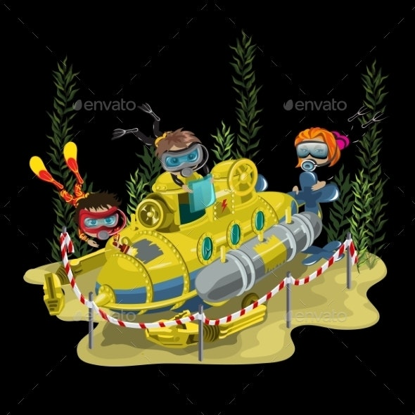 Submarine Surrounded by Three Divers - People Characters