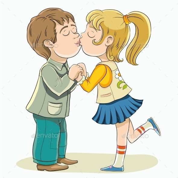 Young Boy and Girl Kissing - People Characters