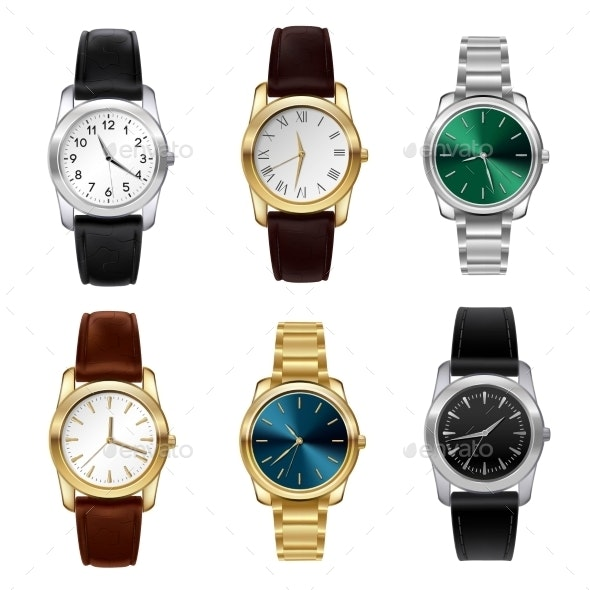 Realistic Watches Set - Man-made Objects Objects