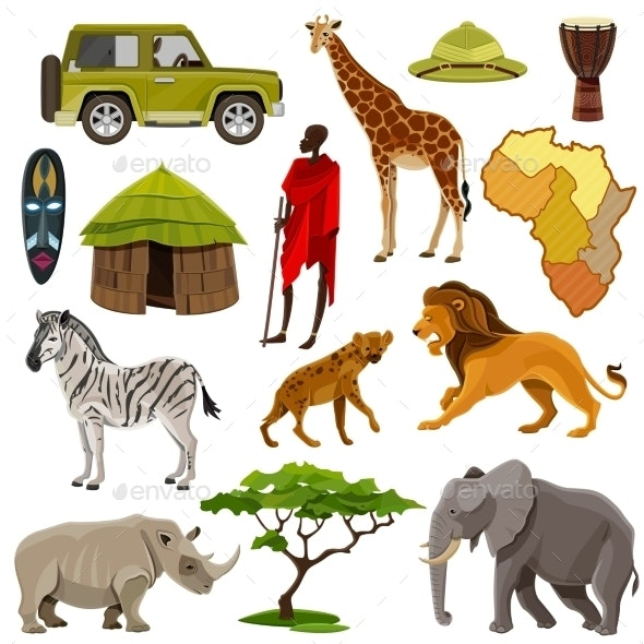Africa Icons Set - Travel Conceptual