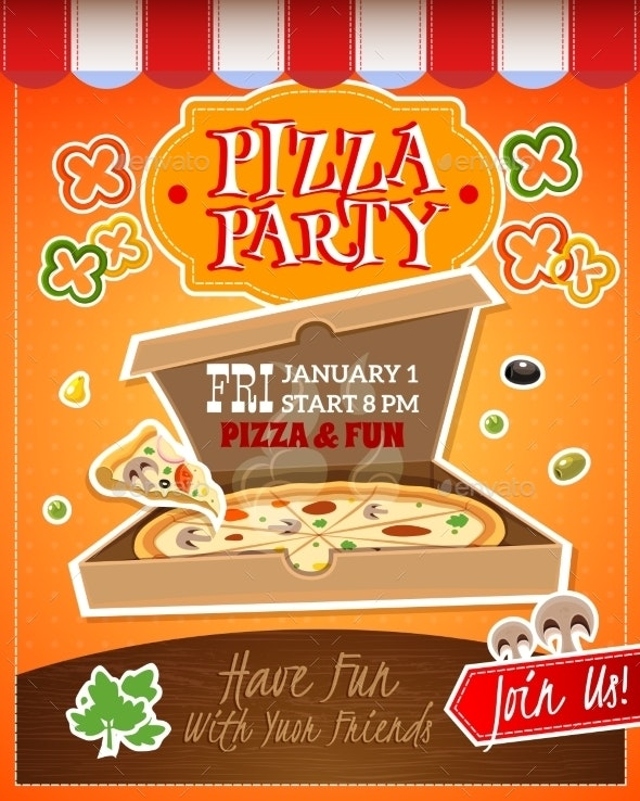 Pizza Party Poster - Food Objects