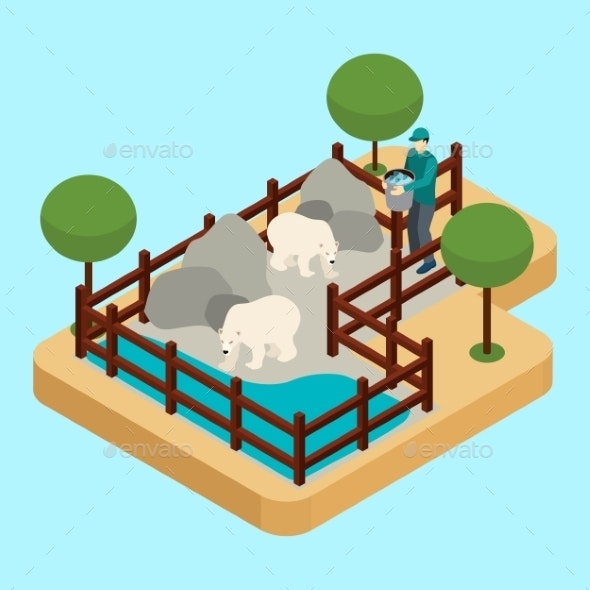 Zoo Worker Illustration  - Animals Characters