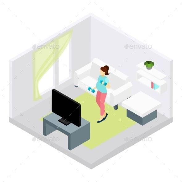 Pregnancy Fitness Illustration  - Health/Medicine Conceptual