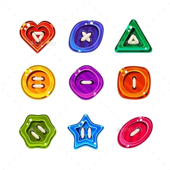 Shiny Glossy Colorful Buttons Set - Web Elements Vectors