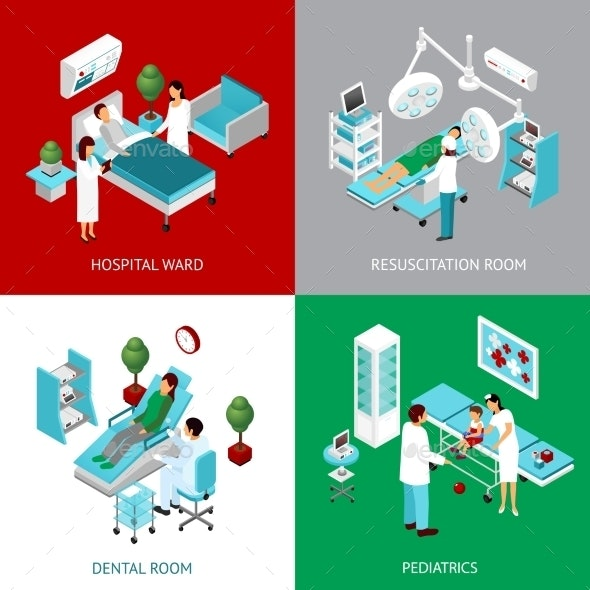 Hospital Departments 4 Isometric Squares - Health/Medicine Conceptual