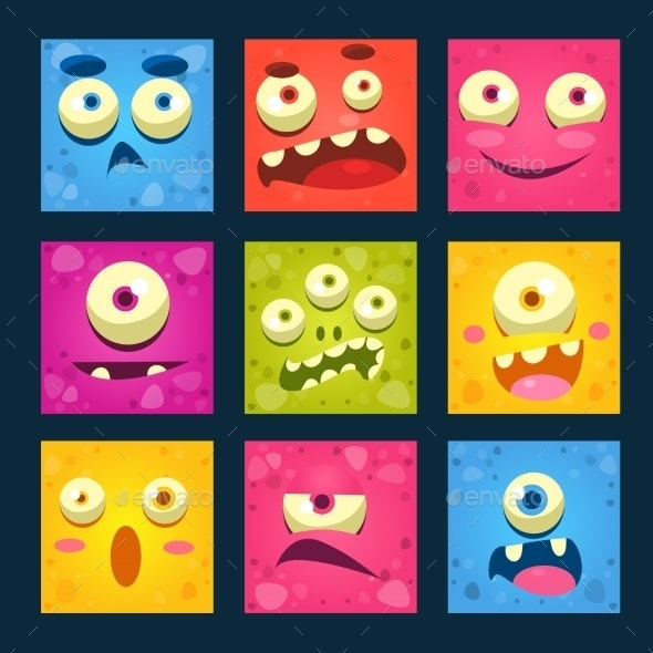 Cartoon Monster Faces Set - Monsters Characters