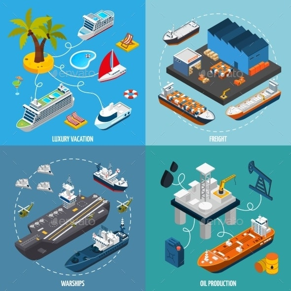 Ships Boats 4 Isometric Icons Square  - Conceptual Vectors