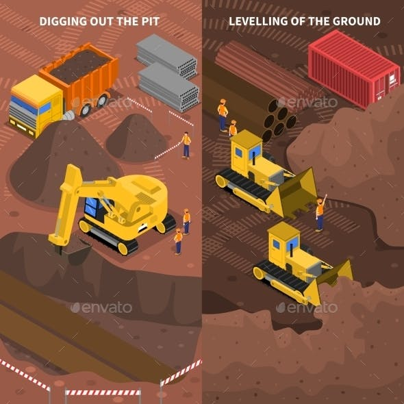 Construction Machinery Isometric Vertical Banners