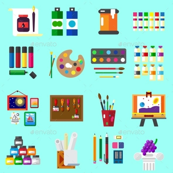Painting Icons Flat Set of Graphic Arts - Decorative Symbols Decorative