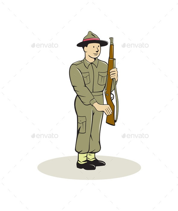 British World War II Soldier Presenting Arms Cartoon - People Characters