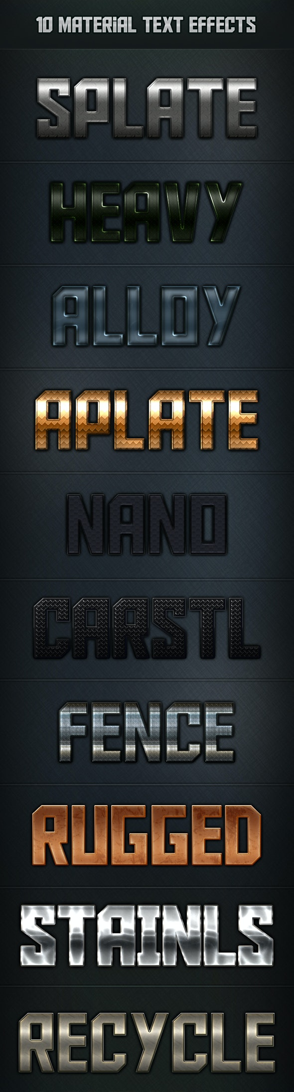 10 Materials Text Effects - Text Effects Styles
