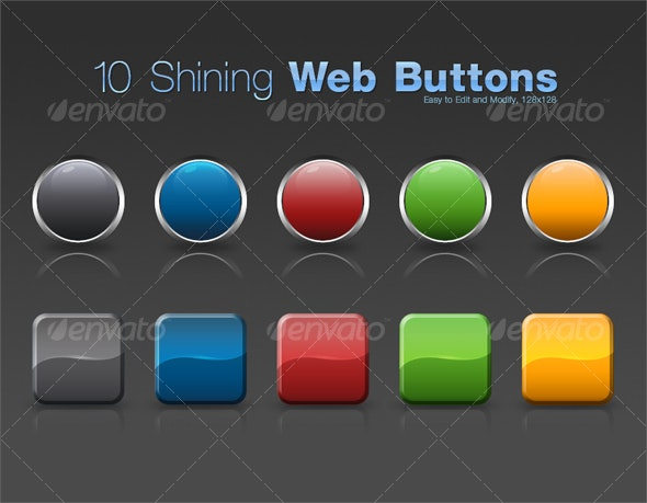10 Shining Web Buttons - Buttons Web Elements