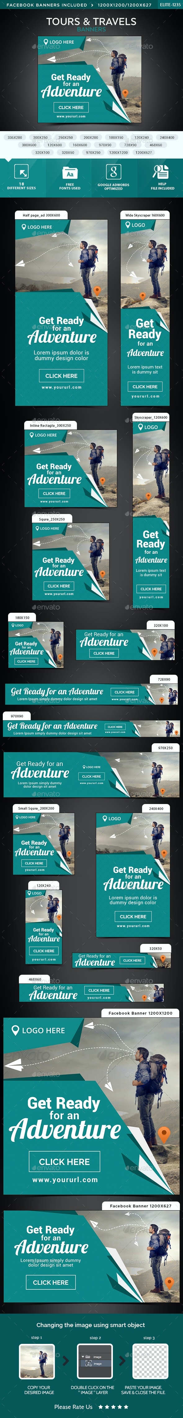 Tours & Travels Banners - Banners & Ads Web Elements