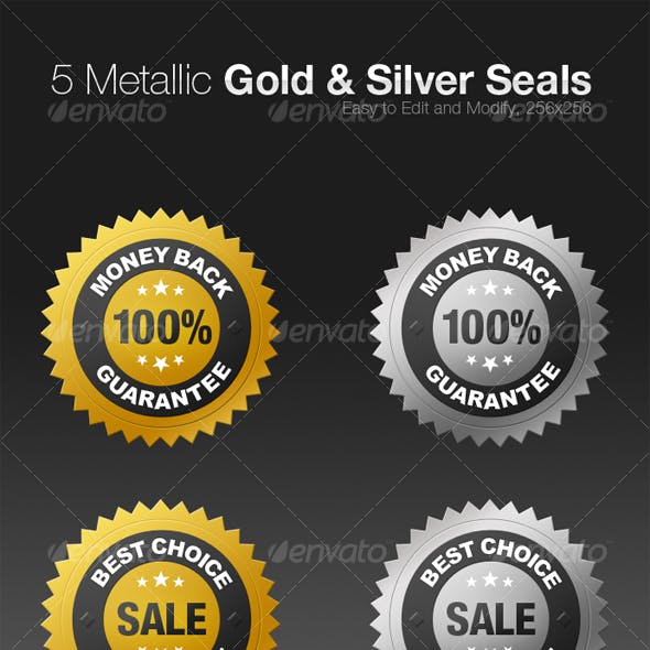 5 Metallic Gold and Silver Seals