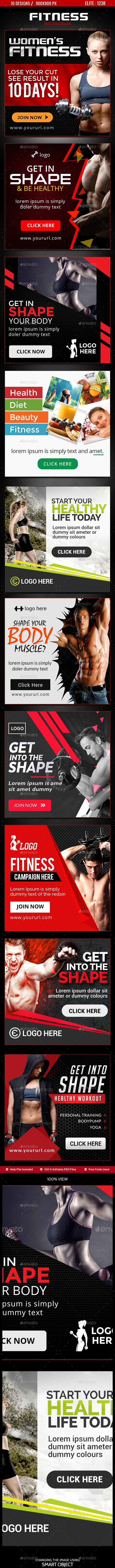 Fitness Instagram Templates  - 10 Designs - Social Media Web Elements