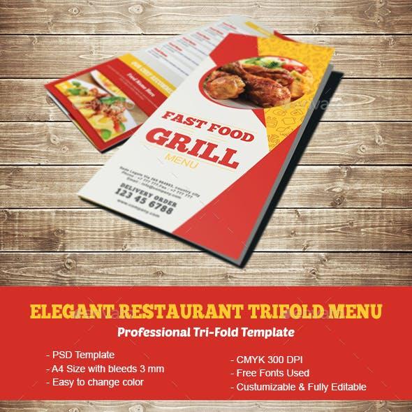 Elegant Restaurant Trifold Menu