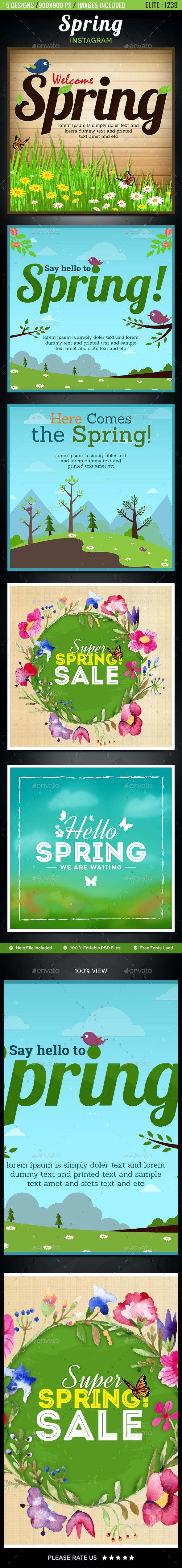 Spring Instagram Templates - 5 Designs - Images Included - Social Media Web Elements