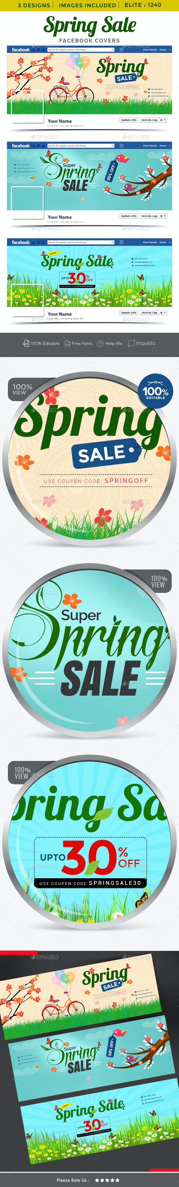 Spring Sale Facebook Covers - 3 Designs - Images Included - Facebook Timeline Covers Social Media